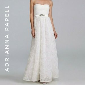 Adrianna Papell Rosette White Gown